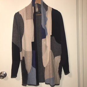 Nic + Zoe Abstract Open Long Sleeve Knit Cardigan